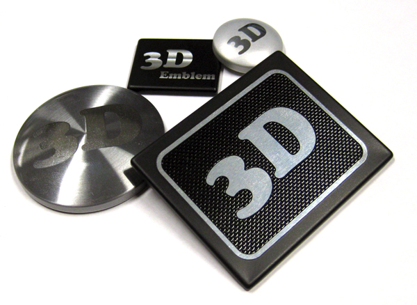 3D stock dies on aluminum nameplates