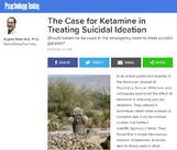 As Seen on Psychology Today: The Case for Ketamine in Treating Suicidal Ideation
