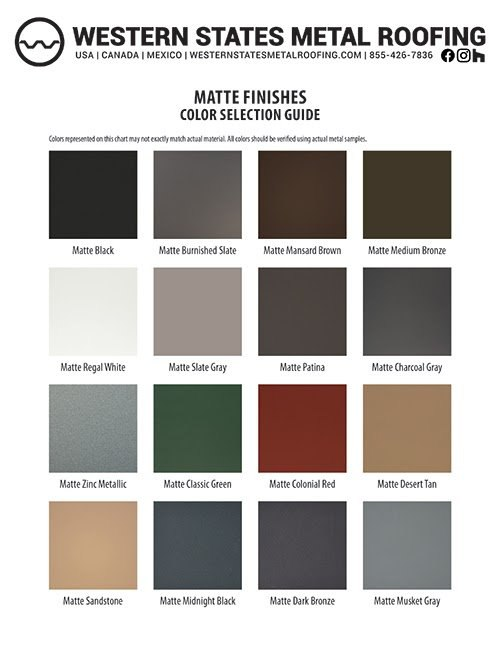 Matte Finishes Color Card from Western States Metal Roofing