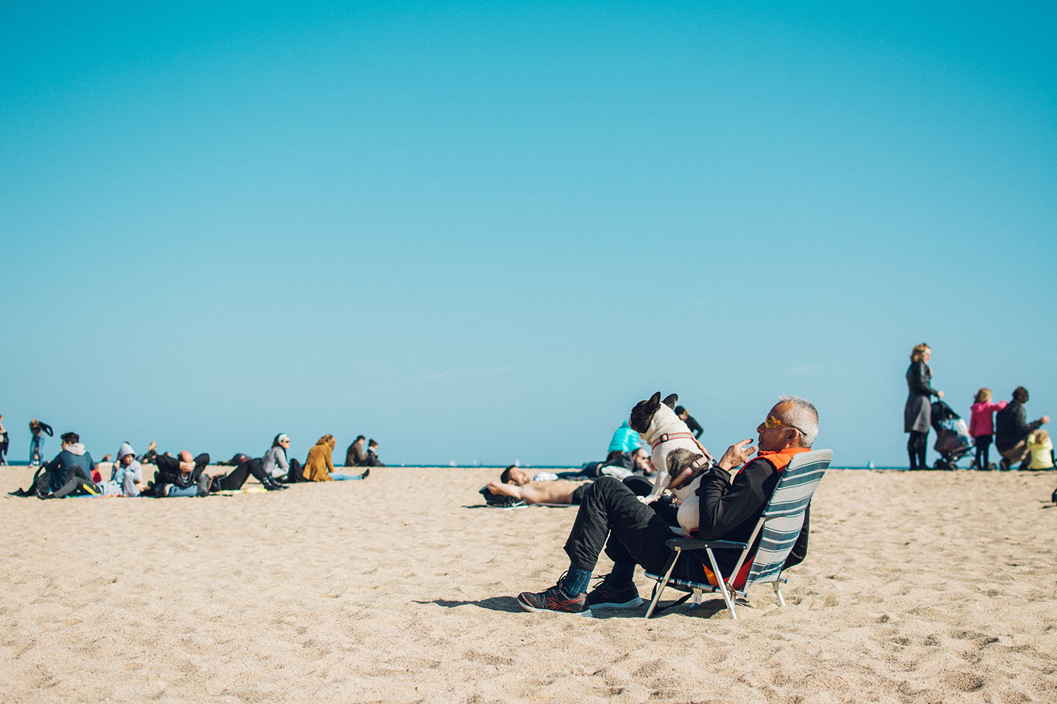 Man sitting in a beach chair with a dog