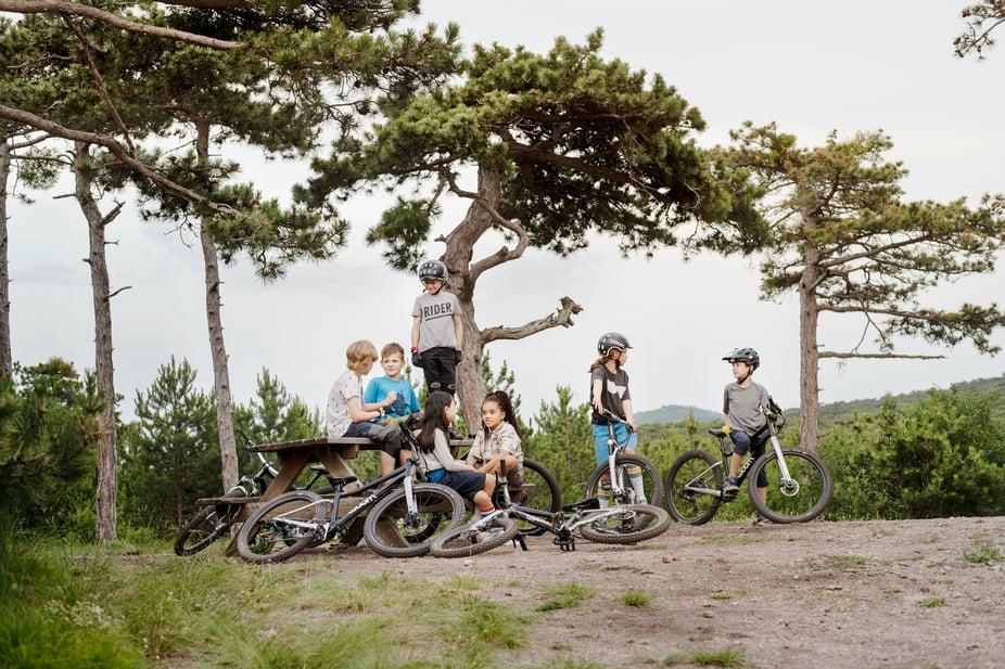 Kids mit ihren woom Mountainbikes