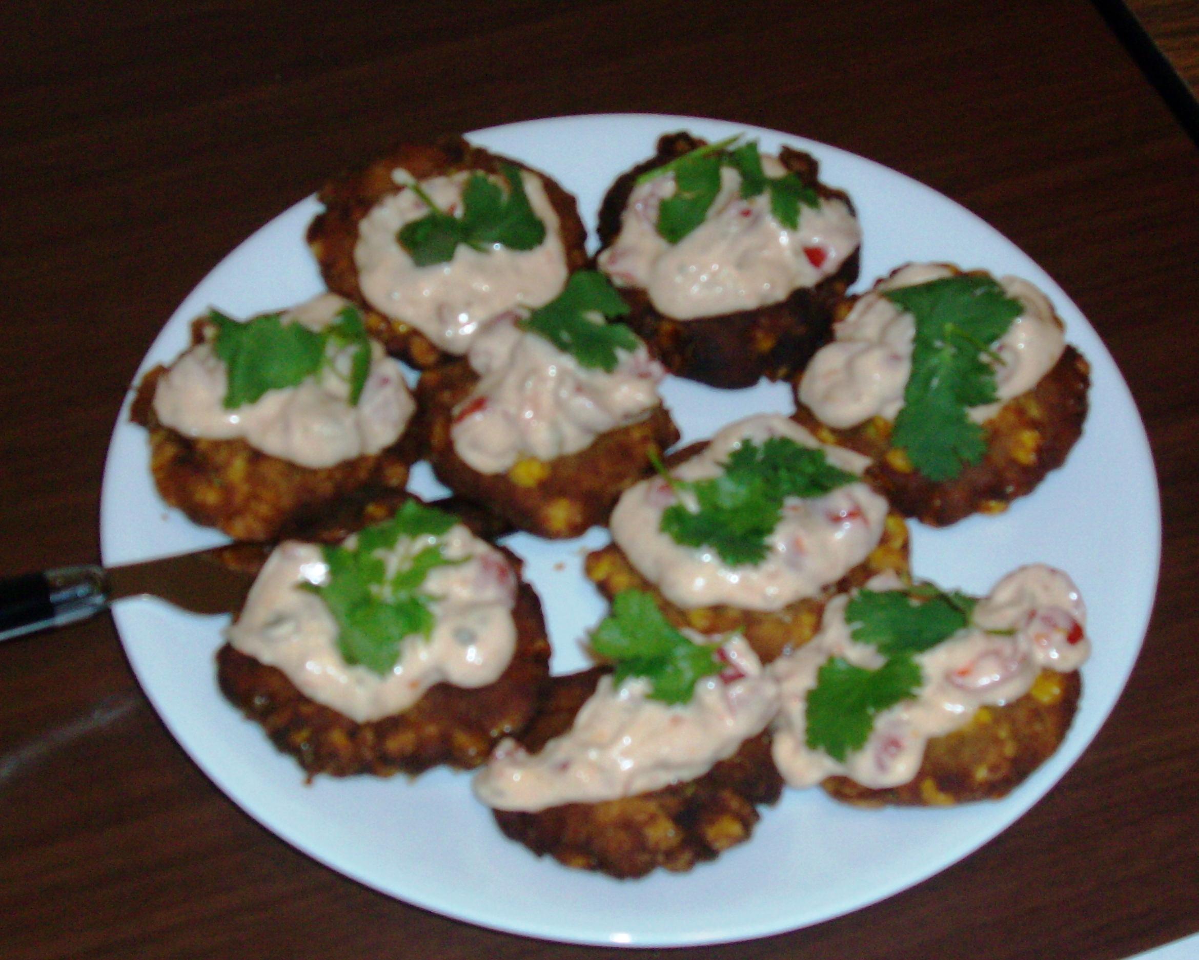 Firecracker Corn Avocado Fritter with Spicy Tomato Mayo - Honorable mention. Courtesy of Susan Asanovic
