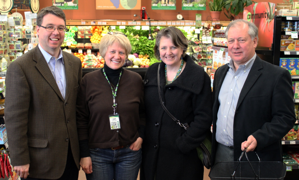 Wisconsin Farm Service Agency Executive Director Brad Pfaff, VFC GM Jan Rasikas, USDA Deputy Secretary Kathleen Merrigan and State Director USDA Rural Development Stan Gruszynski visit at the Viroqua Food Co-op.