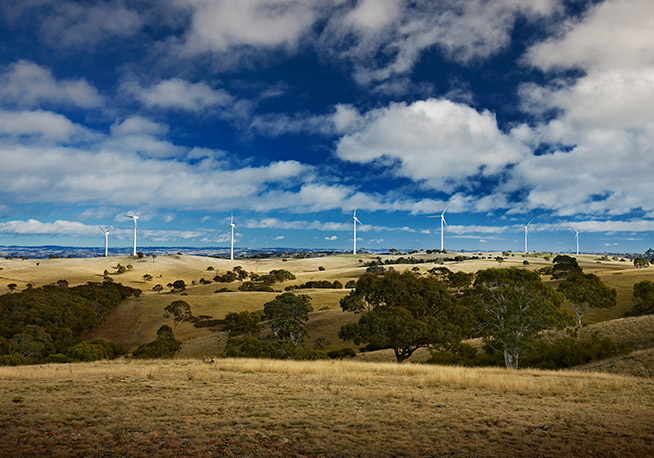 Image: The Gunning Wind Farm in NSW, completed by Acciona Energy in 2011, has an electrical substation, access tracks to each of the 31 turbines, an operation and maintenance facility, and 17.4km of underground cabling.