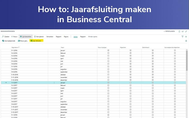 Header Jaarafsluiting maken in Business Central