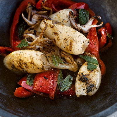 "Fourth of July – ""Seafood Style"" Grilled Calamari with Minted Red Pepper"