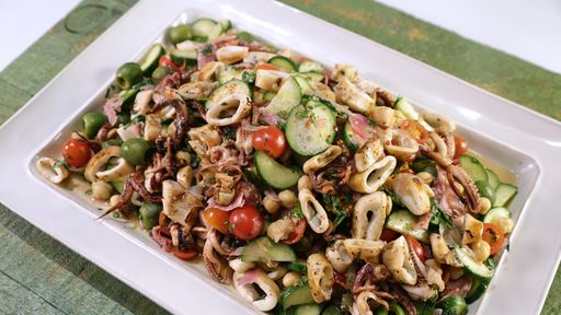 Recipe: Grilled Calamari Chopped Salad with Chickpeas, Olives & Salami
