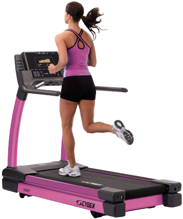 Woman running on pink Cybex treadmill