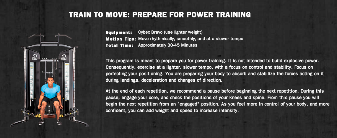 Train to Move: Prepare for Power Training