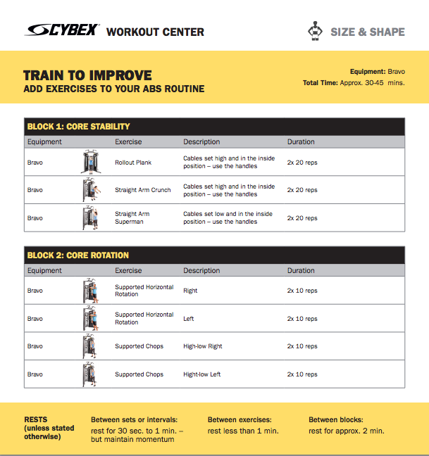 Cybex Workout Center - Download the Workout PDF