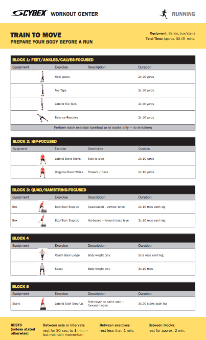 Workout PDF to prepare your body before a run.