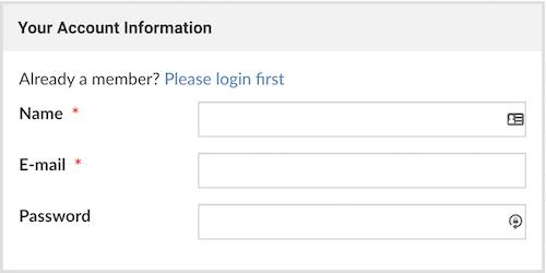 screencap: create account form