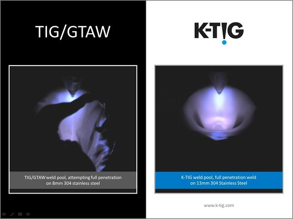 K-TIG Advanced Welding Systems Weld Pool Comparison