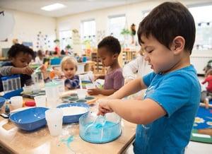 Students hands-on learning in preschool