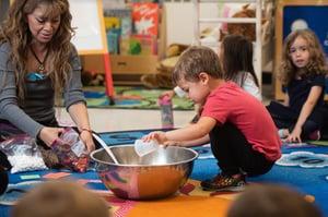 Students learning in preschool