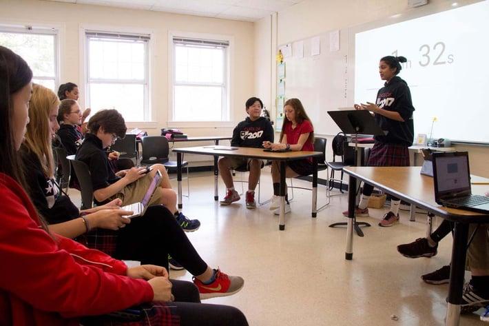 8th graders debating in speech class