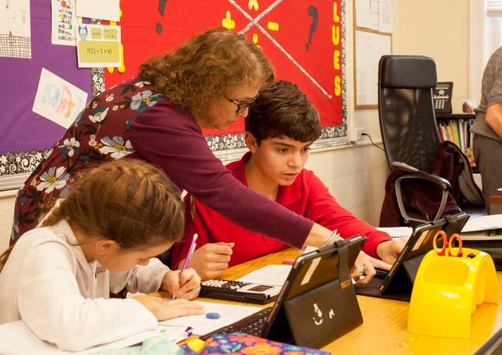 students and teacher math ipads