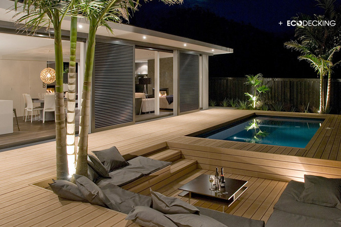Stunning show home, conversation pit and pool are deck