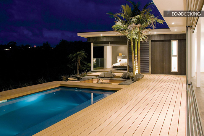 Stunning show home conversation pit and pool are deck - Swimming pool maintenance auckland ...