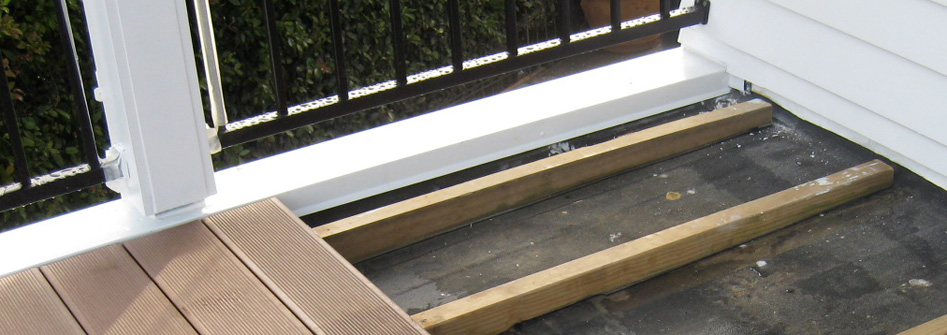 Timber decking screwed in removable deck frames