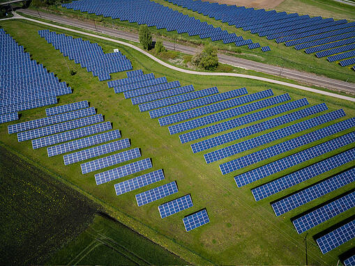 solar panels in green fields
