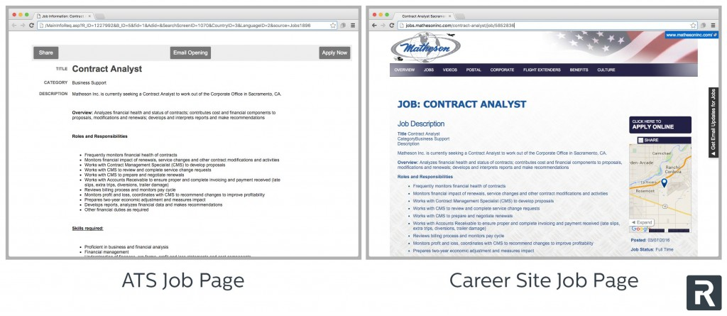 Job page on Recruiting.com sites vs. an ATS
