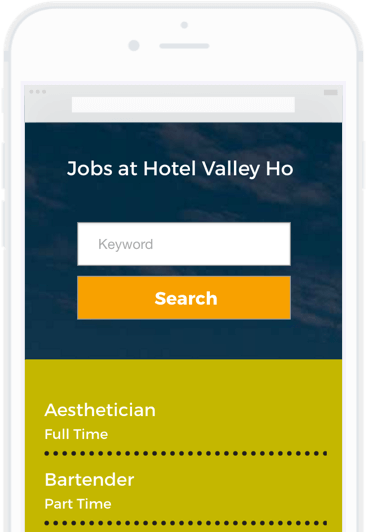 Mobile career site example of a job listings page