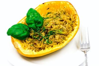 VOrganic Spaghetti Squash Pasta with Spiralized Zucchini