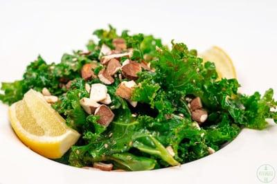 VAsian Kale Salad with Ginger Sesame Dressing