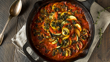 Baked Vegan Roasted Squash and Eggplant Parmesan Casserole with herbs