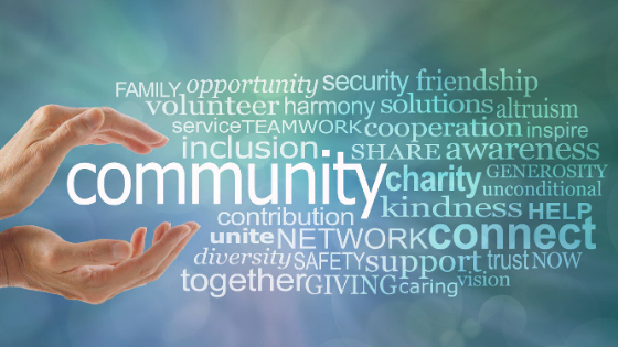 hands holding community, advocacy, charity