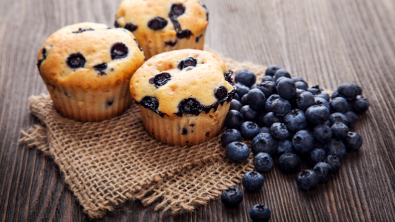 lemon blueberry vegan muffins with fresh blueberries
