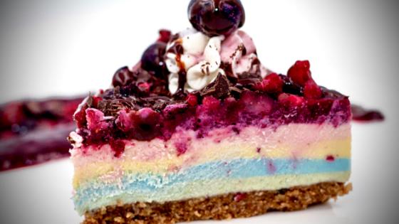 Raw Vegan Rainbow Champagne No-Bake Cheesecake