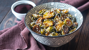 Roasted Brussels Sprouts and Tofu with Ginger-Sesame Maple Balsamic Sauce (GF)