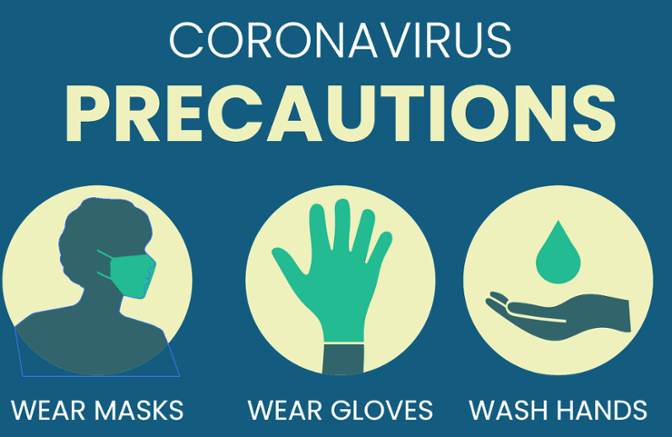 Coronavirus Precautions Wear Masks, Gloves, Wash Hands Illustration-1