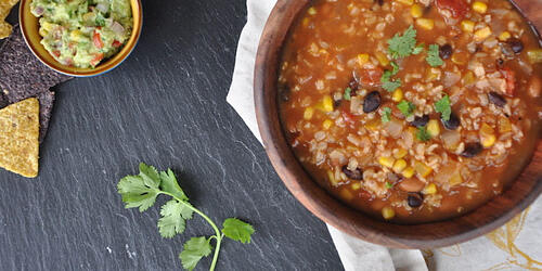 One-Pot Plant-Based Mexican Soup with garnish