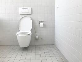 clean white bathroom with toilet
