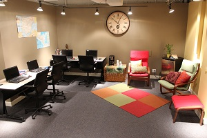 TEFL classroom Chicago student lounge