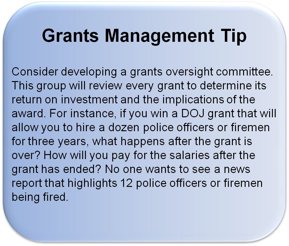 grants management tips, grants oversight committee for overseeing how a program will be sustained after a grant is closed out