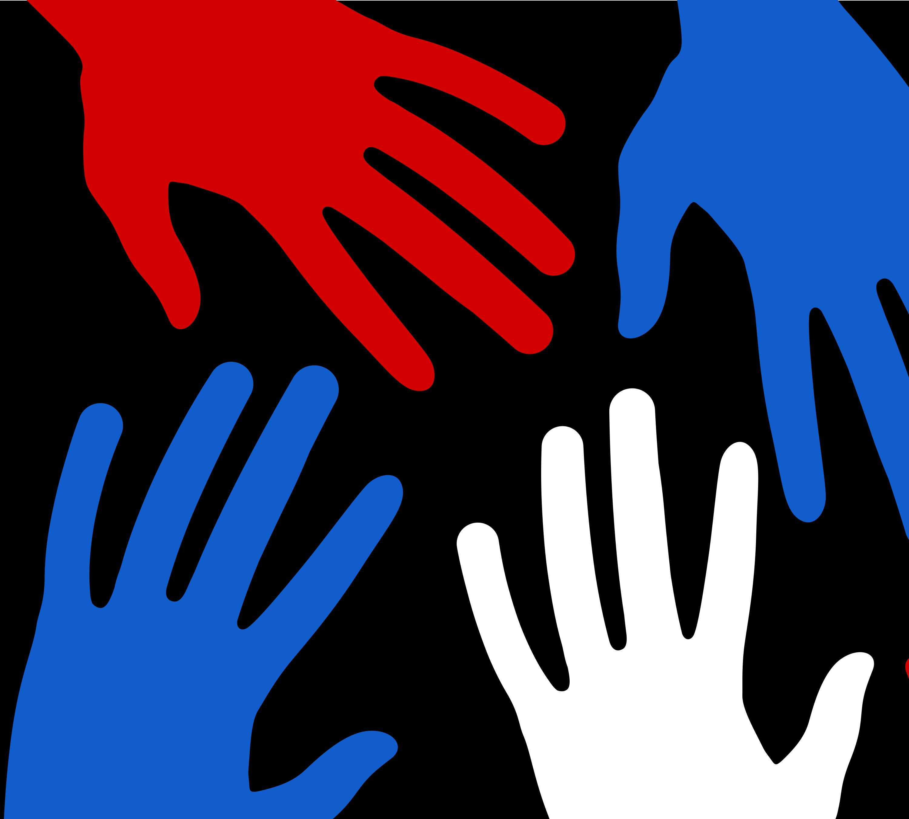 Red, White and Blue Hands in an article about  Anti-Gang Strategies and Grants