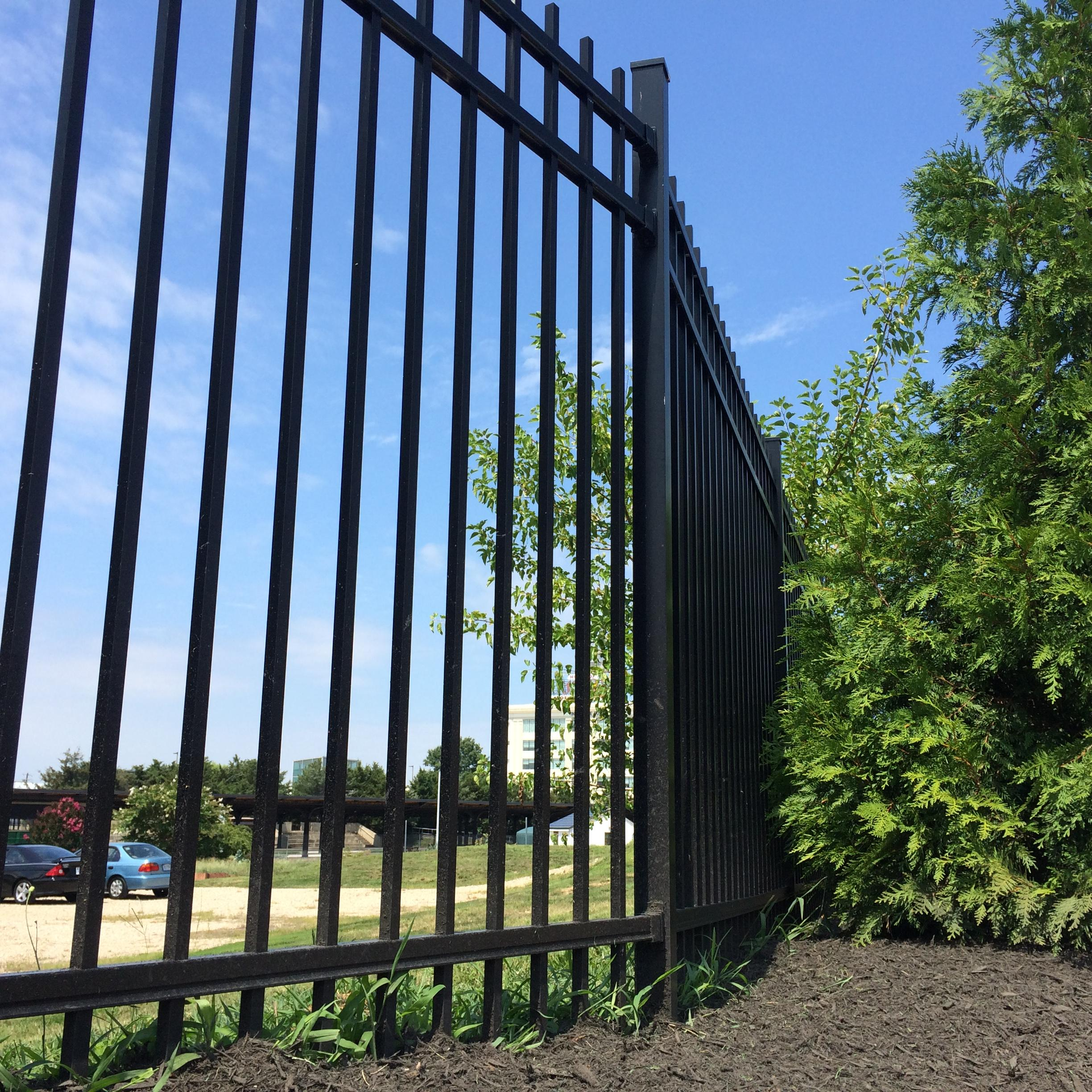 spear picket aluminum fencing surrounds redskins training camp in Richmond, Virginia.