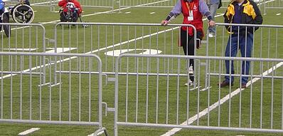 Crowd control french barricades used at a professional soccer or football event outside