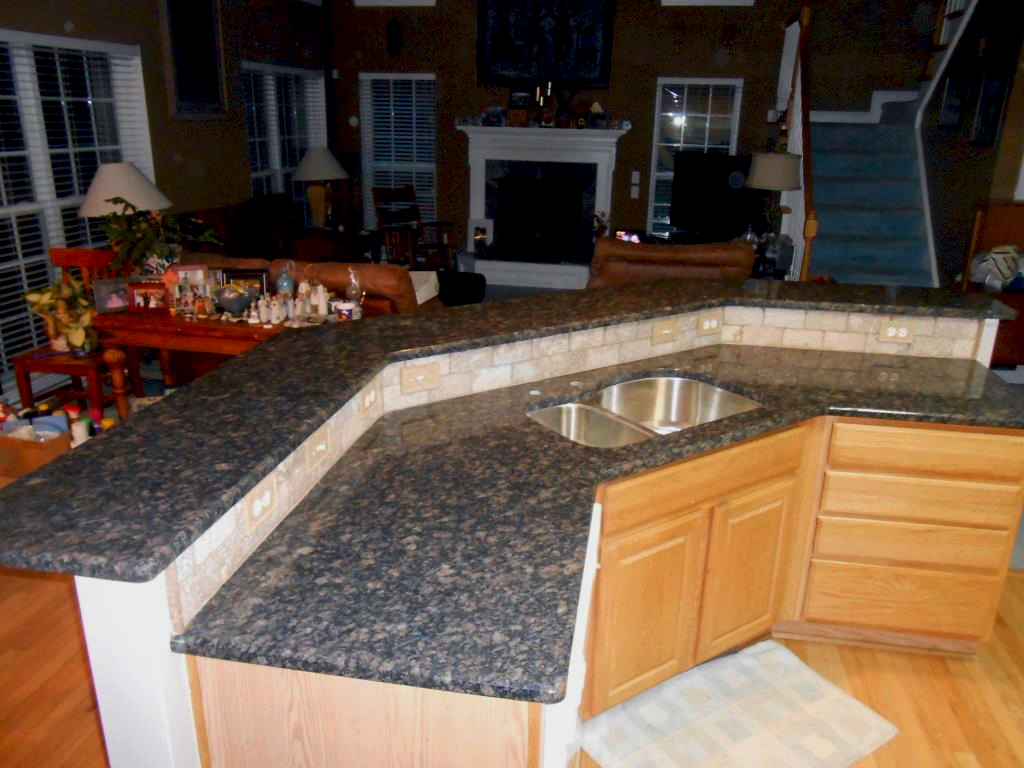 Hickory Cabinets Kitchen Sapphire Blue Granite With 3x6 Walnut Travertine Tile