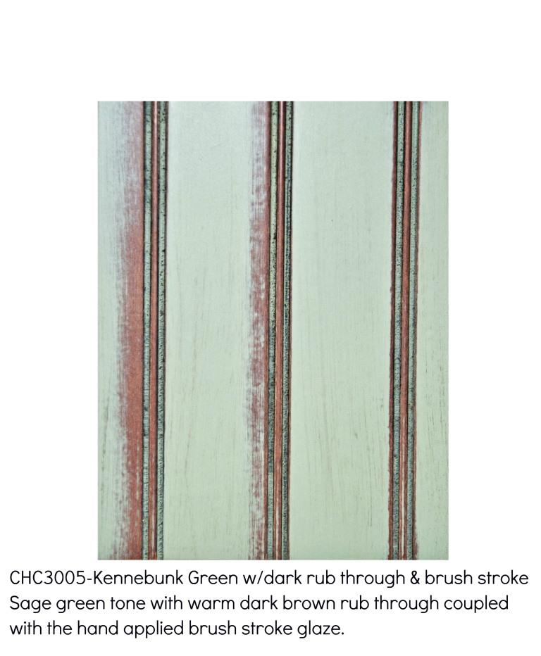 Kennebunk green3005-Sage green tone with a warm brown rub through coupled with the hand applied brush stroke glaze