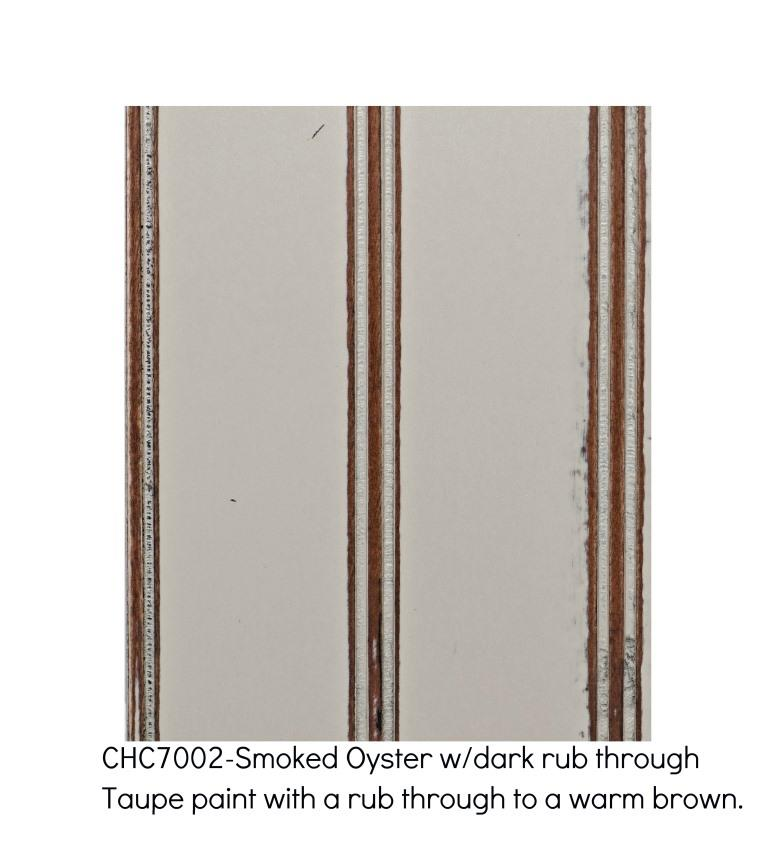 Smoked Oyster 7002-Taupe paint with a rub through to a warm brown