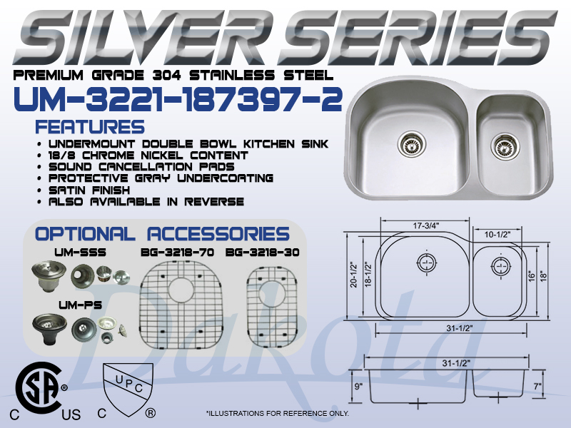 70/30 Stainless Steel Sink Specs
