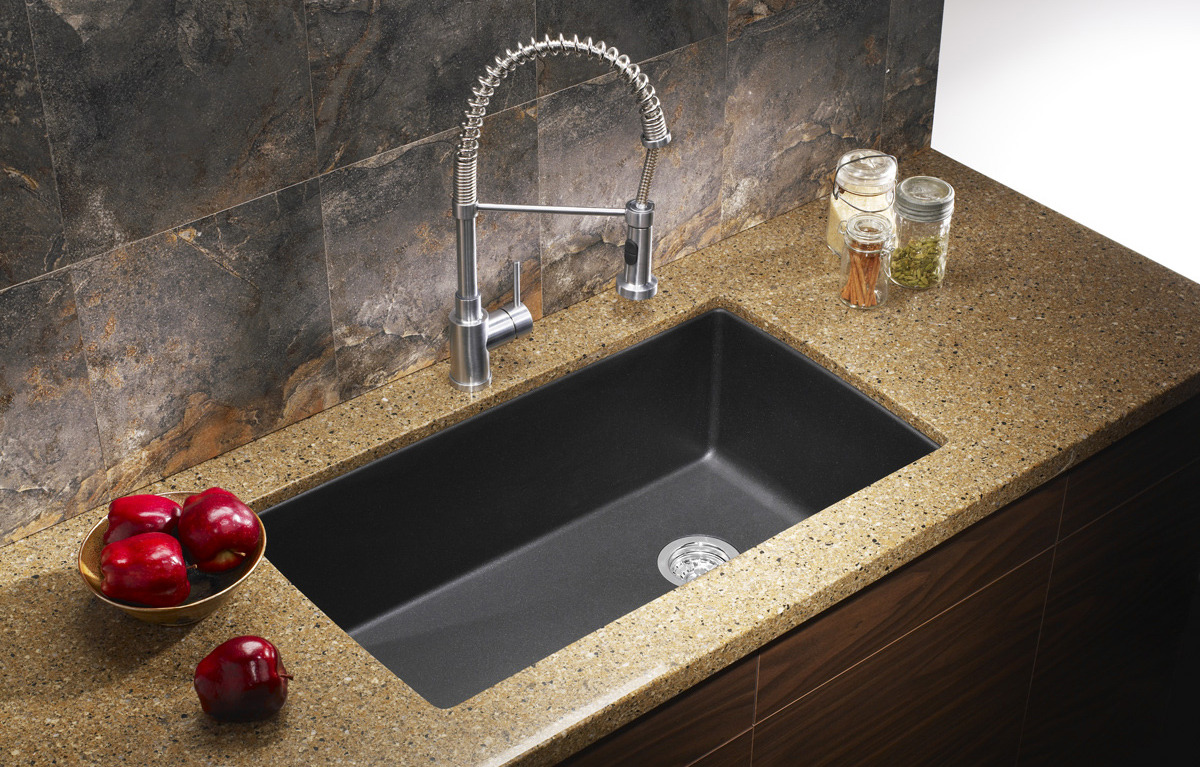 how to clean a black composite sink