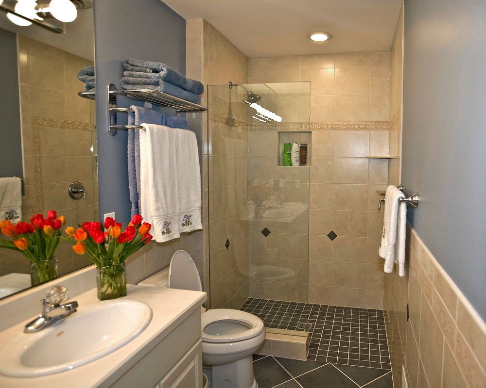 doorless tiled shower bathroom - Bathroom Remodeling Charlotte
