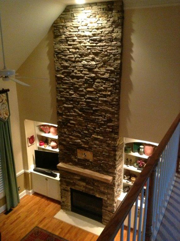 after stacked stone surround photo