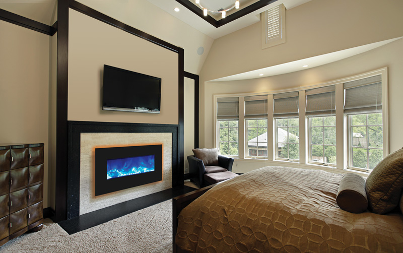 Amantii electric fireplace for Electric wall fireplace bedroom